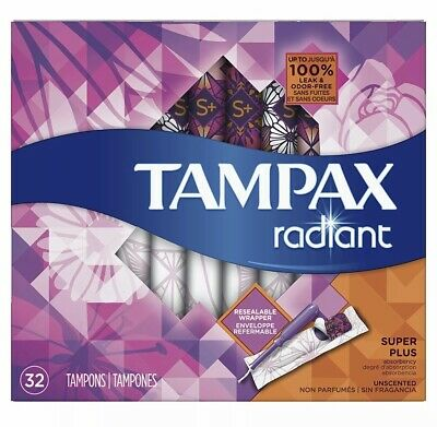 Tampax Radiant Super Plus Plastic Tampons, Unscented,32 Count Fast Free Shipping