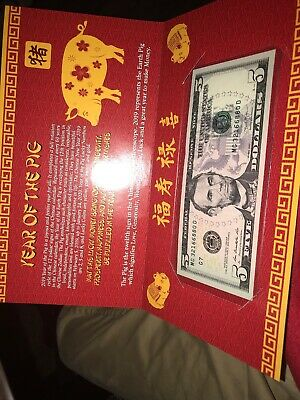 2019 New Year Of The Pig Lucky $5 Dollar Bill W/ Red Folder