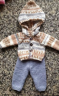"""Dolls clothes hand knitted Hoodie & Trousers for 12-14"""".boy doll - very cute"""
