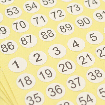 5Sheets Numbers Round Self Adhesive Stickers Small Garment Labels Tags Scrapbook