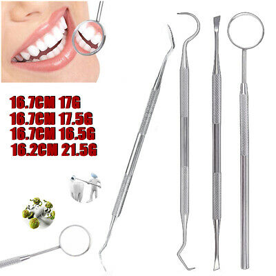 4pcs Dental Tooth Pick Probe Set Of Kit Teeth Clean Hygiene Tool Stainless Steel