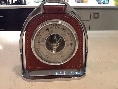 Vintage Barometer mounted in tan leather in horse stirrup stand, equestrian