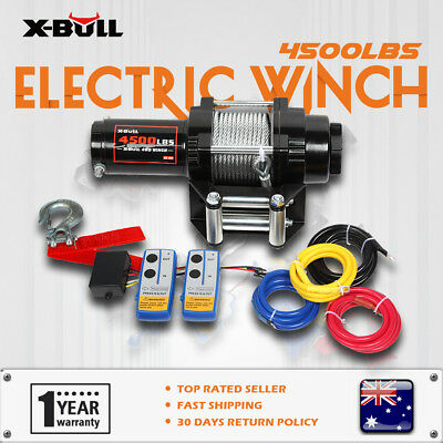 Wireless 4500LBS/2041kg 12V  Electric Winch Boat ATV 4WD Steel Cable 2 Remote