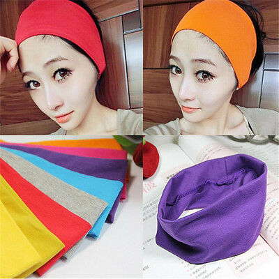 2pcs Women Wide Sports Yoga Headband Stretch Hairband Hair Band Turban Elastic