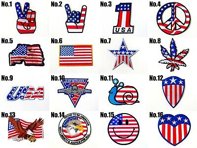 USA Amarican Flag Logo biker Sew/Iron On Patch Embroidered Applique-Store