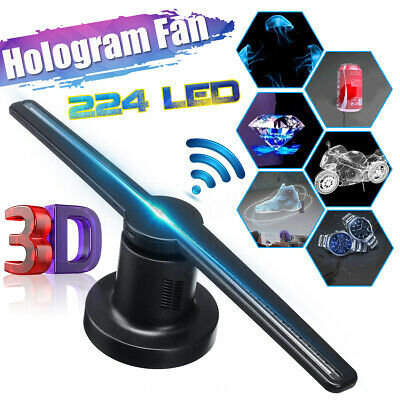 AU Plug 3D WiFi Holographic Hologram LED Fan Projector Display Advertising Fan