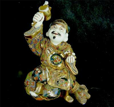 ANTIQUE JAPANESE SATSUMA POTTERY MORRIAGE BUDDHA FIGURE FIGURINE Daikokuten