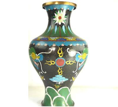 """N896 LARGE ANTIQUE CHINESE CLOISONNE VASE 13"""" 33cm tall"""