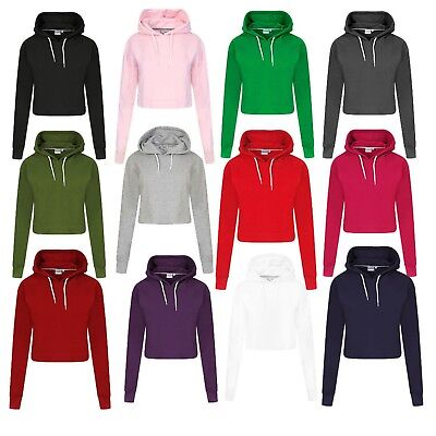 New Women's Girls Ladies Plain Pull Over CROPPED Hoodie Sweatshirt Size UK XS-L