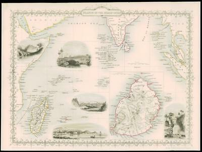 "1850 - ""ISLANDS IN THE INDIAN OCEAN"" Mauritius Madagascar etc by Tallis (116d)"