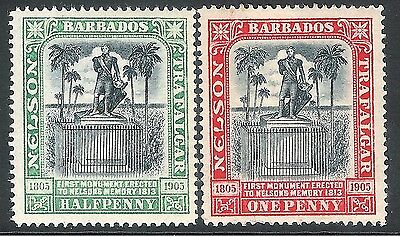 Barbados 1906 black/grey 1/2d black/red 1d crown CC mint SG146/147