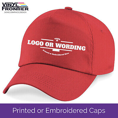 Personalised Custom Printed or Embroidered Baseball Caps | Logos and Text