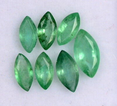 Natural Emerald Marquise Cut Mix mm 1.91 Cts Lot 07 Pcs Untreated Loose Gemstone