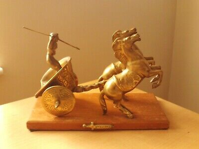 Vintage Brass British Celtic Warrior Queen Boadicea on Chariot with Two Horses.
