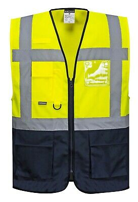 Portwest Men Hi-Visibility Two Tone Executive Vest Warsaw Yellow Navy LARGE C476