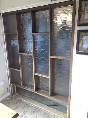 Mid Century Vintage Retro Teak Wood and Glass Room Wall Partition Divider 1970s