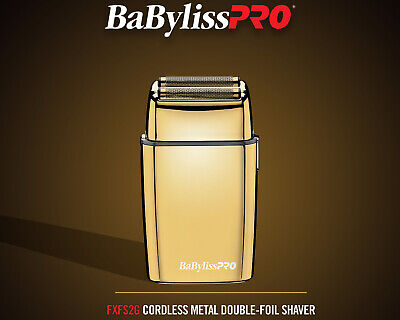 Babyliss PRO FoilFX02 Cord or Cordless Gold Metal Double Foil Shaver FXFS2G -NEW