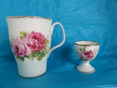 Vintage Royal Albert American Beauty Mug And Egg Cup With Gold Trim Pretty