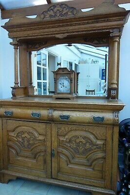 Antique Golden Oak Mirror Back Sideboard. COLLECTION ONLY FROM STAFFS B772AE.