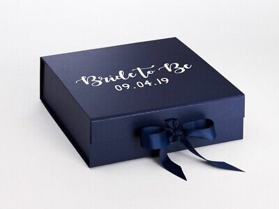 ROSE GOLD NAVY Bride to Be Large Box Custom Date Personalised Box Wedding Gift