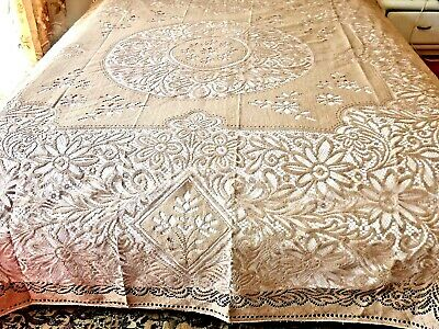 Outstanding Vintage Nottingham Lace Bedspread / Tablecloth England C 1960's