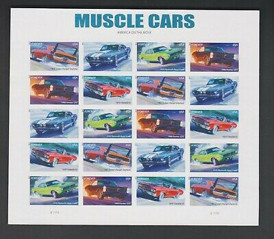 2013 US 4747b Muscle Cars Pane of 20 Imperf Without (No) Die Cuts NDC