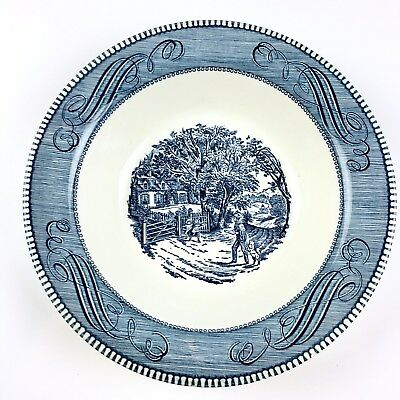 """Currier & Ives 10"""" Round Vegetable Bowl Home Sweet Home Royal China Blue"""