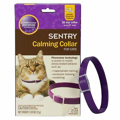 """Sentry Calming Collar for Cats 1 Pack with Phermones up to 15"""" neck"""