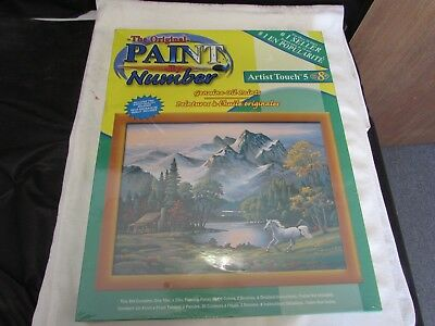 16x20 oil PBN Paint By Number Kit mountain horse log cabin river tree NEW SEALED