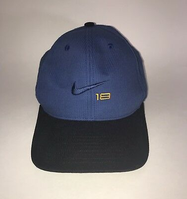 3ba71d9c4983b Nike Swoosh 18 Golf Hat Cap Strap Hook and Loop Adjustable Steel Blue Gold  Vtg.