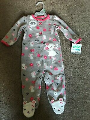 NEW Child of Mine by Carters Baby Girls Snap Up Pajama's 6-9 Months - Mouse