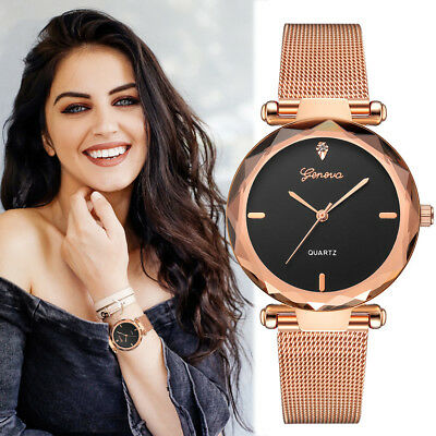 Womens Classic Hot Luxury Stainless Steel Analog Quartz Analog Casual Wristwatch