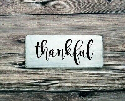 THANKFUL - Rustic Wood Sign Distressed White Kitchen Dining Room Decor