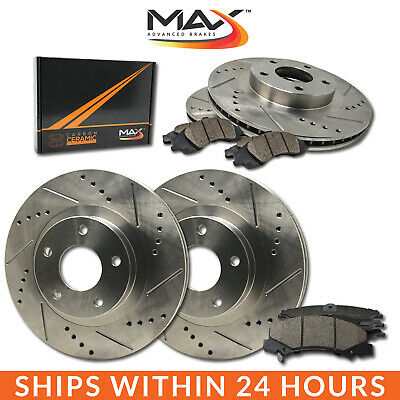 2012 2013 Fit Hyundai Veloster Base Slotted Drilled Rotor w/Ceramic Pads F+R