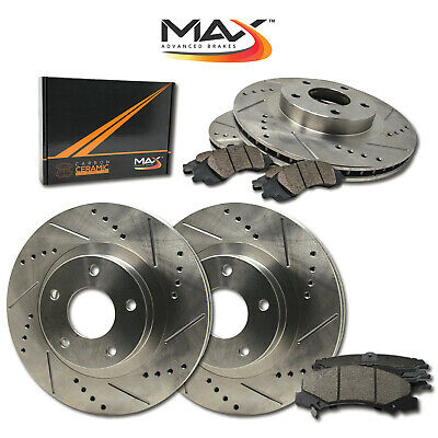 2011 2012 Ford Fusion Slotted Drilled Rotor w/Ceramic Pads F+R