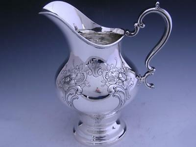 Sterling GORHAM Water Pitcher w/ Floral & Scroll pattern ~no mono ~ Mint Cond