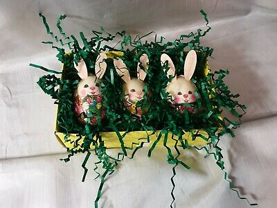 Vintage Paper Mache'? Decoupage? Easter Egg Bunny Ornaments TAIWAN Set of 3
