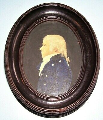 RARE ANTIQUE GEORGIAN PORTRAIT MINIATURE NAVAL OFFICER HMS CHILDERS FRAME d.1798