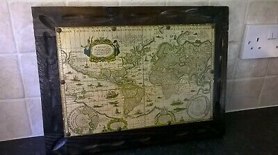 Old Vintage Map Of The World Mounted On An Old Decorative Wooden Frame