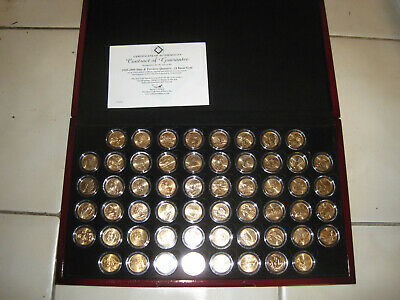 Complete 56 Coins Set of 1999-2009 US State & Territory Quarters 24 Karat Gold