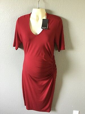 98dc58db4cf Isabella Oliver Womens Maternity Dress Stretch Ruched V Neck 4 US Size 10