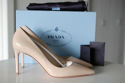 06f06ea18ac7 Authentic PRADA Pointy Toe Blush Nude Patent Point Toe Pump Heel Shoes 11  US 41