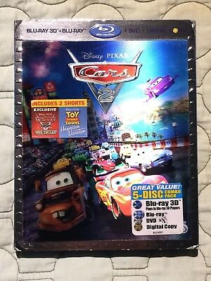 Cars 2 3D (3D/Blu-ray/DVD, 2011, 5-Disc Set) with Slip-Cover