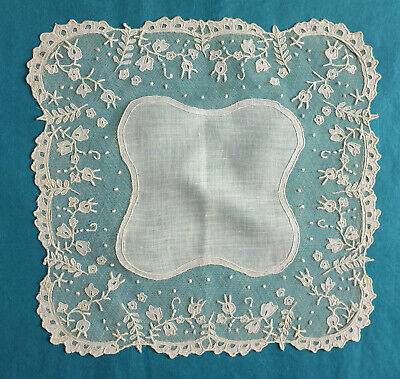 Antique applique lace handkerchief