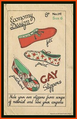 Slippers SLIPPER Shoe Vintage 40's Economy Design No. 119 Fabric Sewing Pattern