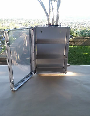 Aluminum Storage Cabinet - 3 Shelf With Clear See Thru Door For Hobby/First Aid