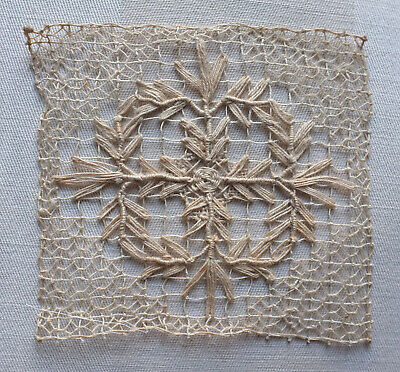 6 antique filet lace squares