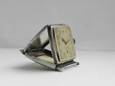 Vintage Levrette Art-Deco Silver Swiss watch Clamshell
