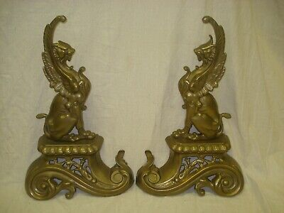 """Vintage Antique Pair French Brass Griffon Andirons Fireplace Figures 16"""" Tall"""