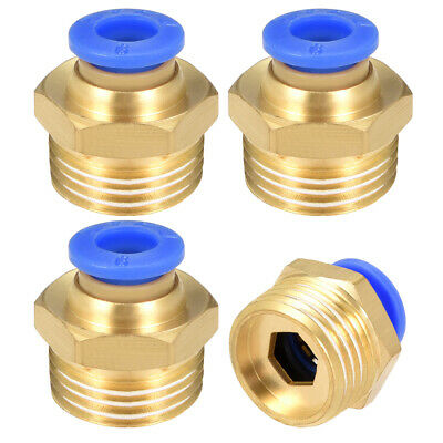 """4 Pcs 3/8"""" G Male Straight Thread 6mm Push In Joint Pneumatic Quick Fittings"""